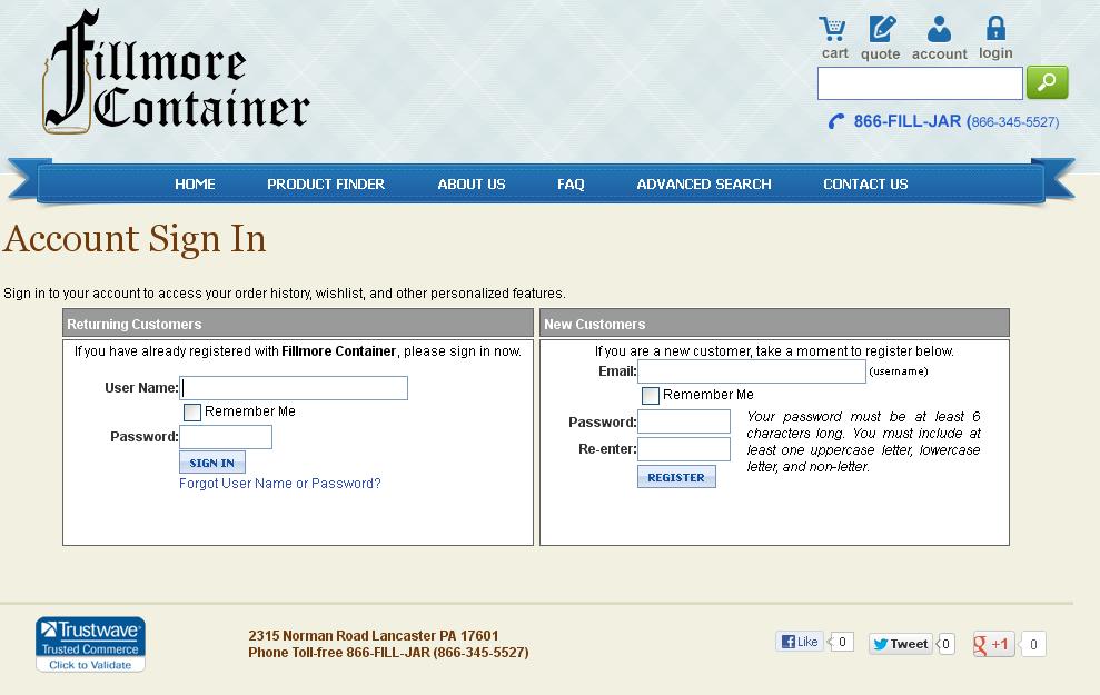Fillmore Customer Login Screen
