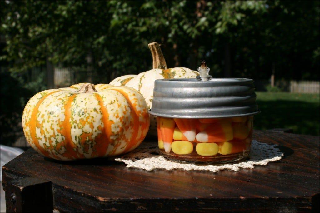 Mason Jar Candy Corn Lantern
