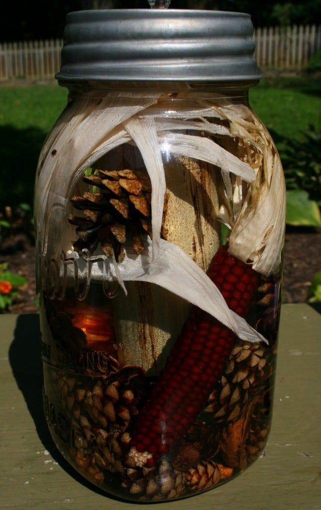 Mason Jar Lantern with Indian Corn