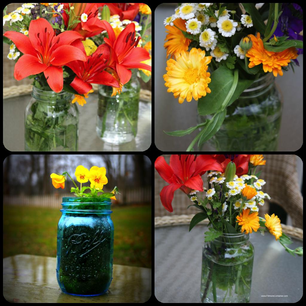 shower Flower Centerpieces in jars