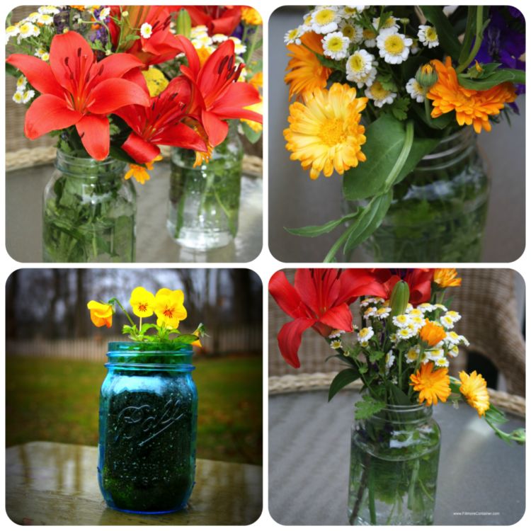 Shower flower centerpieces in jars fillmore container