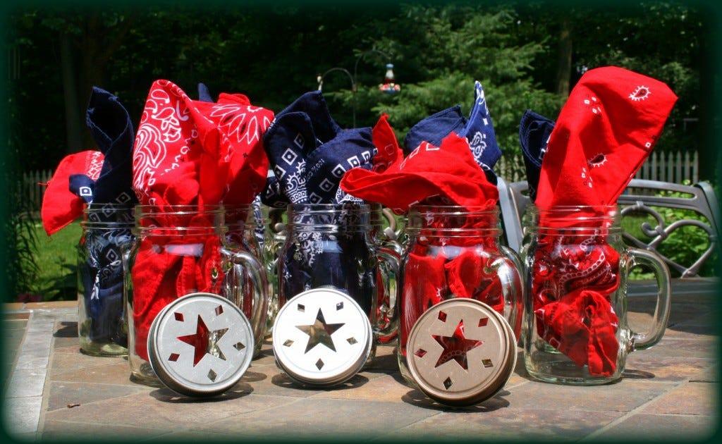 Mason Jar Mugs Patriotic