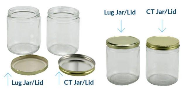Lug and CT examples jars and lids