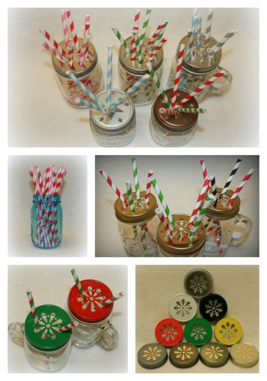 Straws, Daisy lids, jars collage