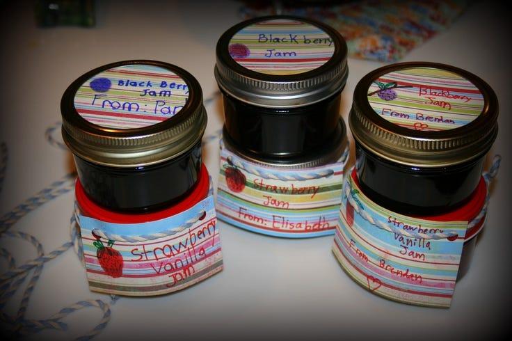 kid decorated jar labels