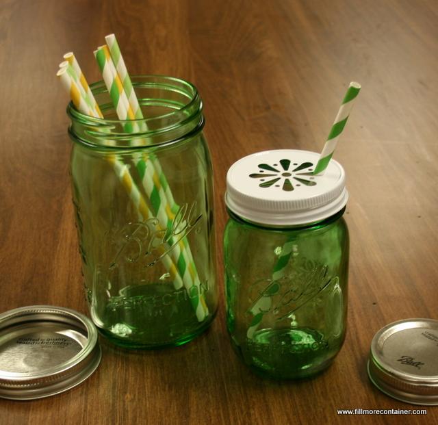 Ball Green Jars with Daisy Lid, Paper Straws - Fillmore Container