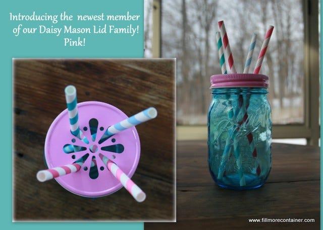 Pink Daisy Mason Lid & Blue Jar & Paper Straws