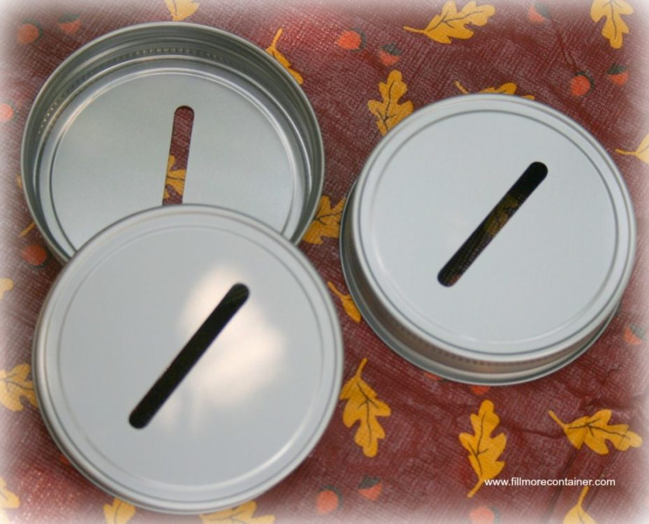 Craft containers with lids - Coin Slot Mason Jar Lids
