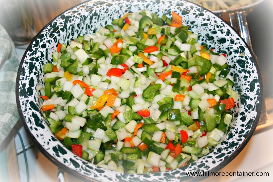 Cucumber Relish Rinsed & Draining