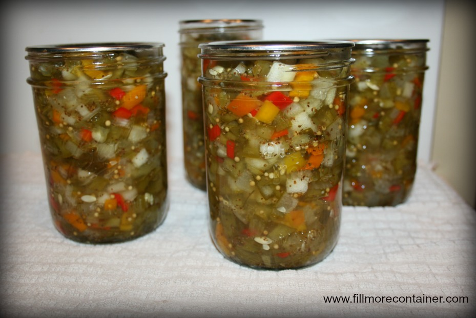 Cucumber Relish Sealed in Orchard Road Canning Jars
