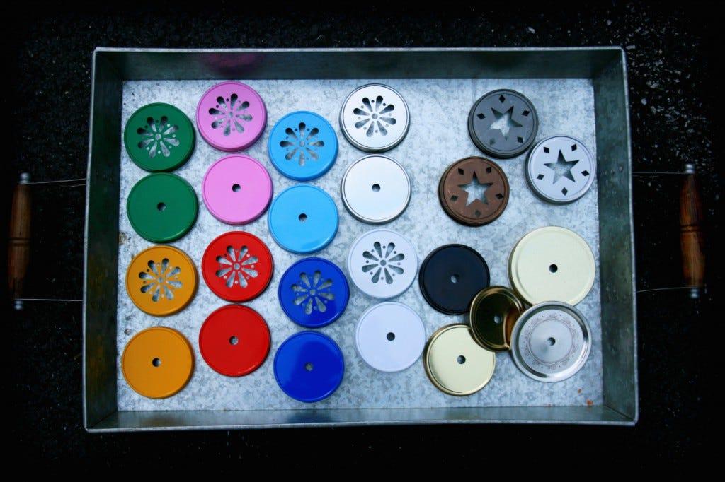 Mason Jar Straw Lids, Daisy Lids and Star lids