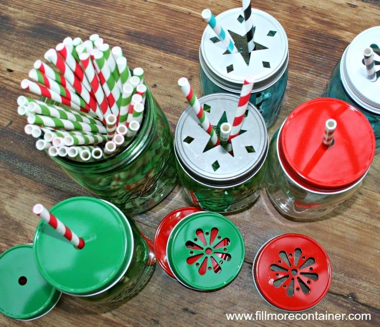 Mason jar with straw christmas gift ideas