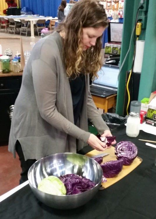 Amanda Prepping cabbage for kraut