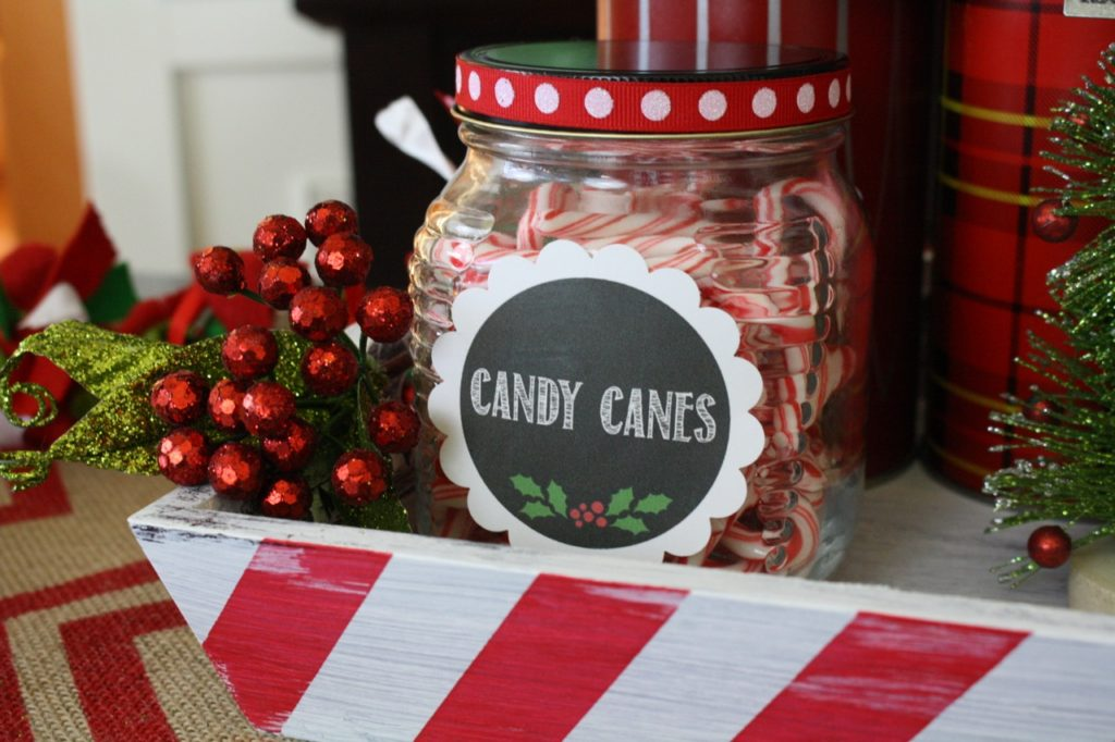 Candy Cane Jar with Label