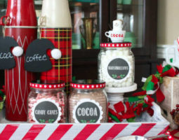 Hot Cocoa in Glass Jars with Festive Decorations