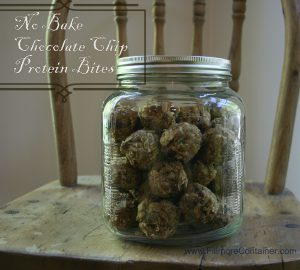 No Bake Chocolate Chip Protein Bites Cracker Jar Fillmore Container3