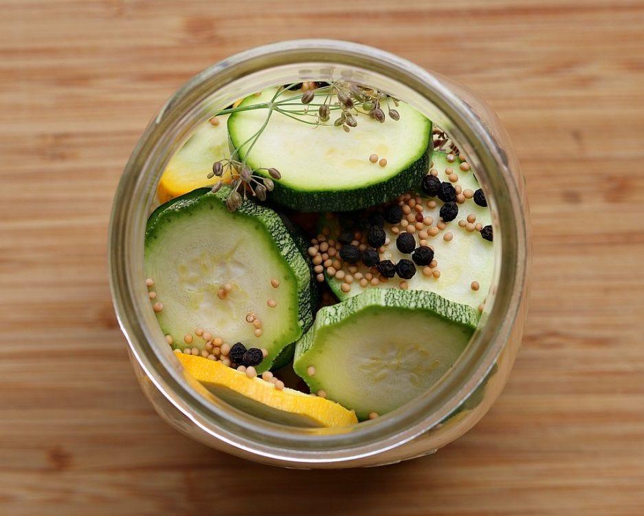 sliced zucchini in jar