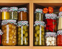 Jars Filled with Cherries, Olives, Peppers, Corn, Mushrooms, and more