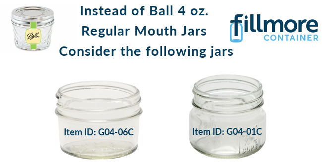 4 oz. alternatives for Ball regular mouth 4oz jars.