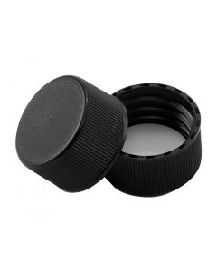 24/414 Black Plastic Continuous Thread Cap with F217 Foam Liner - Fillmore Container