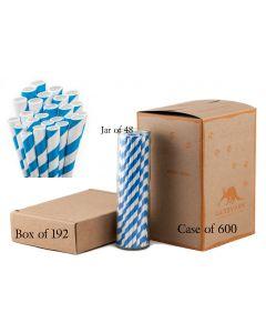 Paper Straws Wholesale Paper Straw Blue Striped | Aardvark®