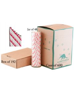 Paper Straws Wholesale Candy Apple Red Striped | Aardvark®