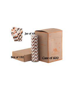 Paper Straws Wholesale Black & Orange Striped | Aardvark®