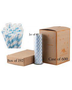Paper Straw Wholesale Powder Blue Striped | Aardvark®