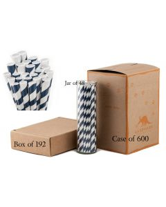 Paper Straws Wholesale Navy Blue Striped | Aardvark®