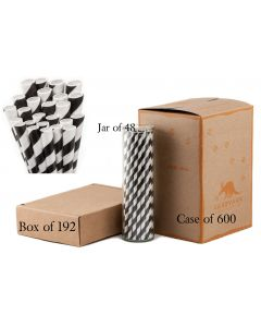 Paper Straws sold individually, jar with 48 jet black striped straws, box of 192 black striped straws or case of 600 black striped straws.