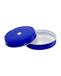 Royal Blue Mason Jar Straw Hole Lid - Regular MouthRC-G70-Hole 9MM Royal Blue