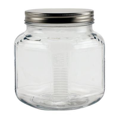 32 Oz Cracker Jar With Brushed Silver Lid