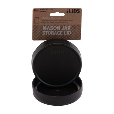 Storage Lid For Mason Jar ILID Wide Mouth   BLACK, In ILids, Storage Lids
