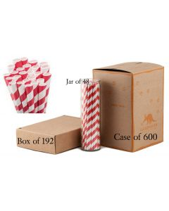 Bulk Paper Straws Candy Apple Red Striped
