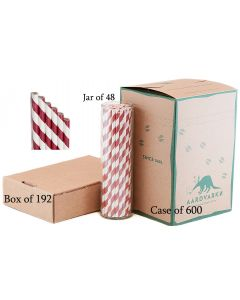 Burgundy Red Striped Paper Drinking Straw