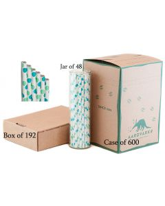 Cyan & Sea Foam Dots Paper Drinking Straw