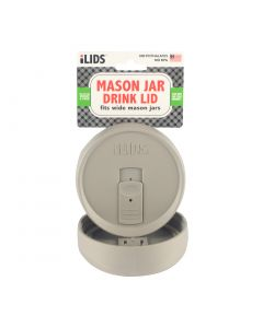 Drink Lid for Mason Jar iLid Wide Mouth - Gray