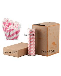 Paper Straws Wholesale Bubblegum Pink Striped | Aardvark®