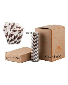 Paper Straws Wholesale Dark Brown Striped | Aardvark®
