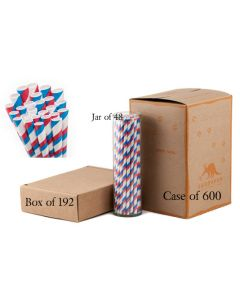 Paper Straws Wholesale  Red, White and Blue Striped
