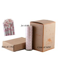 Pink Bubble Gum Hearts Paper Drinking Straw