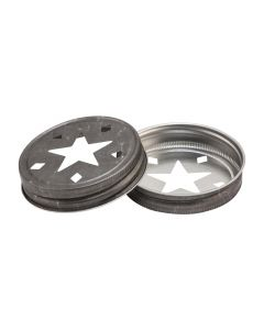 Regular Mouth Pewter Colored STar Lid Candle TopperRC-G70 Star Pewter