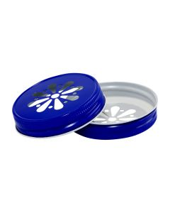 Royal Blue Daisy Canning Jar Lids - Pantone 286RC-G70 DBLRU