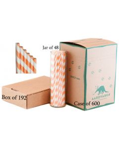 Vintage Orange Striped Paper Drinking Straw