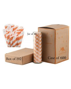 Paper Straws Wholesale Pumpkin Orange Striped | Aardvark®
