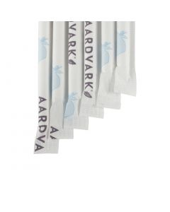 "Aardvark® White 7.75"" Wrapped Paper Drinking Straw"