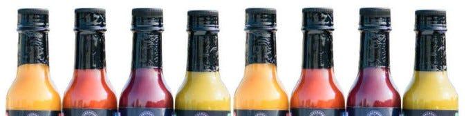 Hot Sauce Bottles with Black Shrink Bands